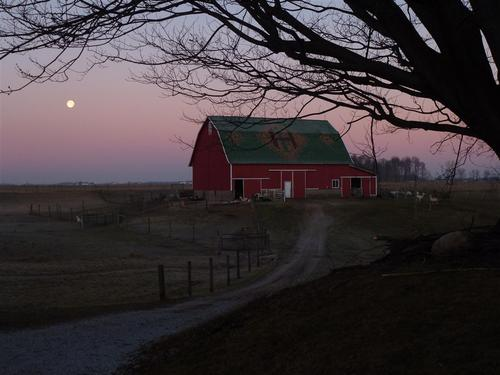 Moon and the big red barn