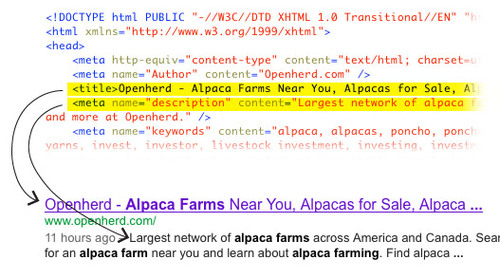 Meta tags in the head of the html page and how they can be used in search engine results.