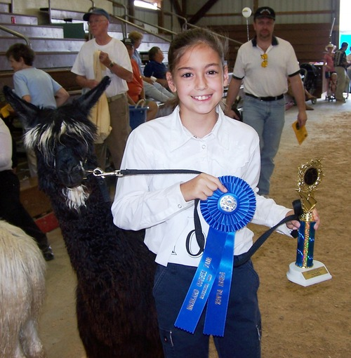 Amy and Geneva at the Richland County Fair Alpaca show!
