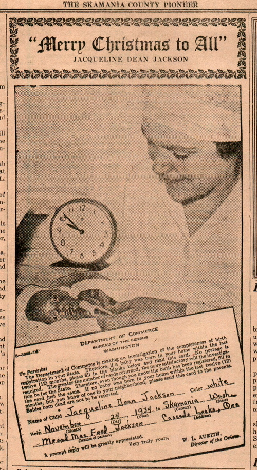 Tiny Jackie with her nurse, Mrs. Weller