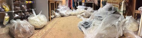 This is what 94 pounds of fiber looks like.