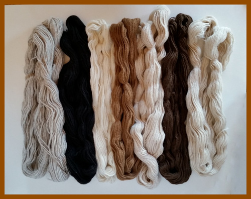 Yarn skeins from Golden Pine's alpacas