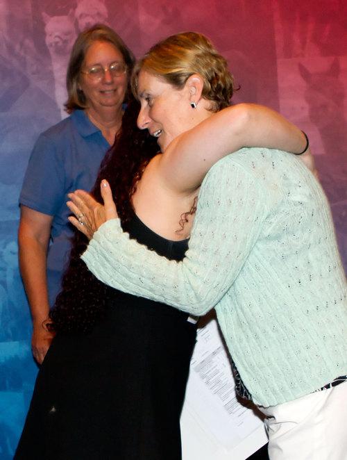 Samantha receiving a well deserved hug!