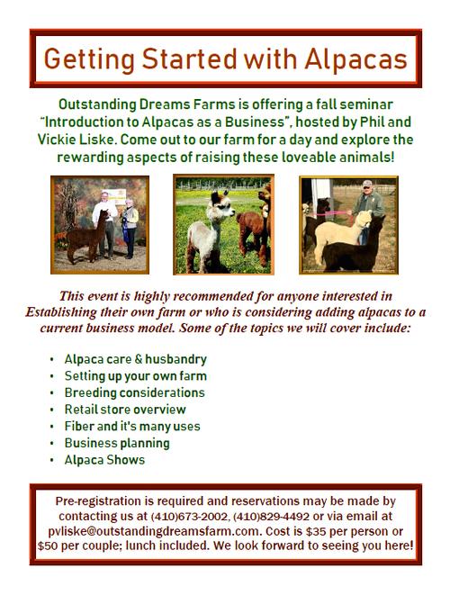 Fall Alpaca Business seminar takes place Saturday, October 6th at Outstanding Dreams Farm.