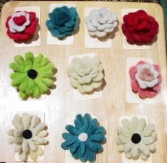 Photo of Flower Pins-Felted Alpaca