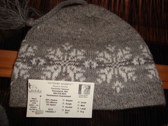 Winter Hat Made from Yarns Produced from Sandollar Alpacas herd avalable in the Leather Sandollar!