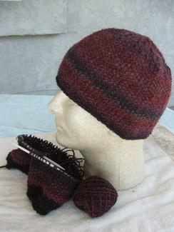 Photo of hand-spun, hand knit alpaca hat