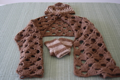 Photo of Shawl,cap and fingerless mittens