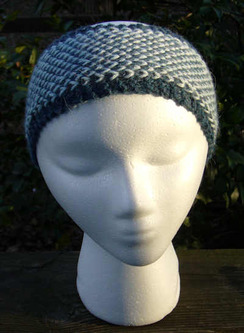 Photo of White on Blue Earwarmer