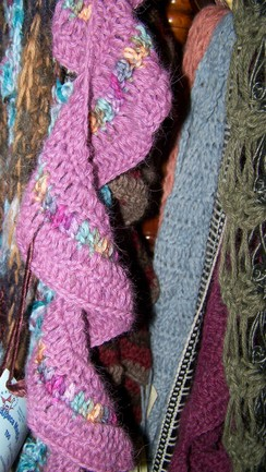 Scarves crochetted right here on the farm