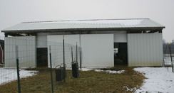 Pavilion style barn - we have since doubled it in length to 80' giving us more room for hay storage