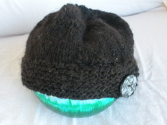 Photo of Knit Hat - Hand Spun Black Alpaca Yarn
