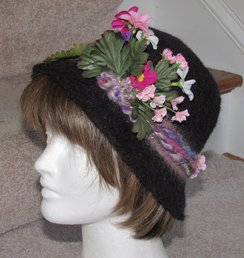 Photo of Charcoal Suri Dress Hat w/ Flowers