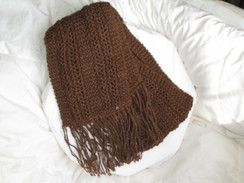Photo of Brown alpaca scarf with fringes
