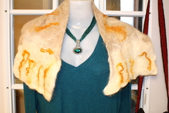 Photo of Nuno Felted Suri Shawl, white/gold locks