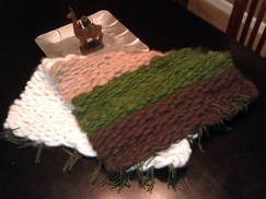 Photo of Bedside Alpaca Rug (brown/green/white)