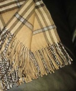 Photo of Alpaca Throw - Camel-Silver-Stripe Plaid