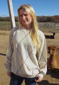 Photo of 100% Alpaca Diamond-Pinstripe Sweater
