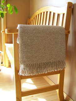 Photo of Alpaca throw - White and Camel  