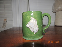 Photo of Stoneware Alpaca Mug Green and White