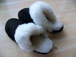 Photo of Alpaca slippers - suede slide-on