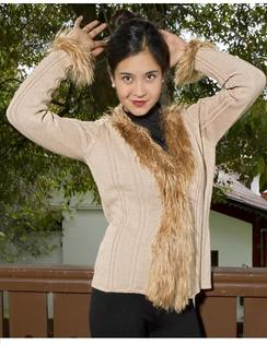Photo of Alpaca Cardigan with Alpaca Fur
