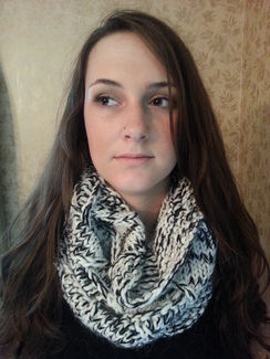Photo of Alpaca White/Black Lace Extended Cowl
