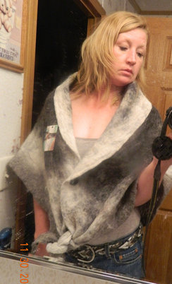 Photo of One of a kind Nuno felted shawl