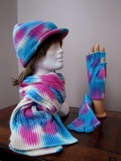 Photo of 100% Alpaca Bold Aqua/Fuschia Scarf Set