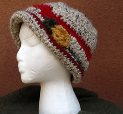 Photo of Lollypop Line Hat: Red/Grey Alpaca Posey