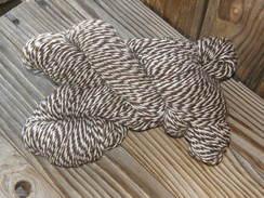 Photo of White/Brown Barber Pole Alpaca Yarn