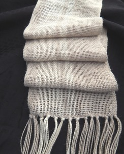 Photo of Handwoven Alpaca Scarf Fawn & White