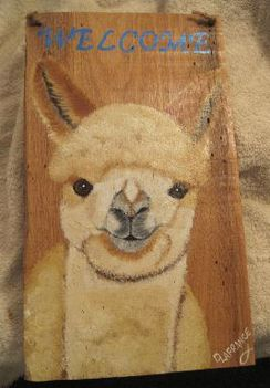 Photo of Handpainted Alpaca Welcome Plaque - Fawn Cria