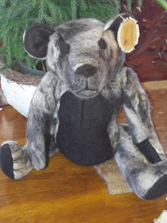 Photo of Gray and Black Felted Teddy Bear