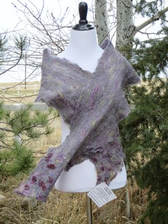 Photo of Handmade nuno felted scarf - Purple