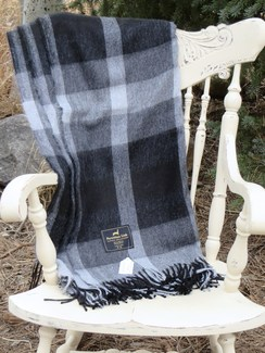 Photo of Blended Alpaca Throw - Gray Plaid