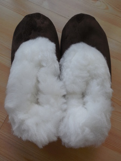 Photo of Suede alpaca-lined slippers