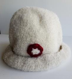 Photo of White Bouclé Dress Alpaca Hat