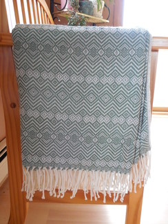 Photo of Alpaca throw - Sea green and white