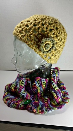 Photo of Crocheted hat with flower