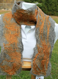 Photo of Felted Art Scarf, silver & gold