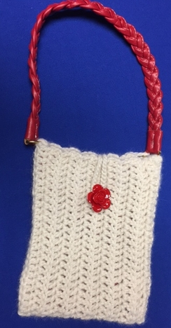Photo of White Alpaca Purse with Red Handle