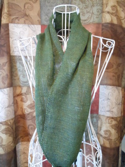Photo of Infinity scarf/cowl - warm green SOLD!