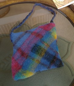 Handwoven triangle loom purse
