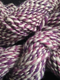 "Photo of Hand Spun Alpaca Yarn ""Purple and White"""