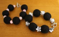 Photo of Fiber Felted Bracelet (Black Fiber)