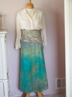Photo of Alpaca and ice dyed silk skirt