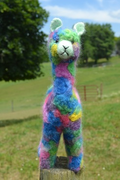 """Photo of Felted Sculpture: 12"""" Colorful Alpaca"""