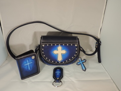 Photo of P06 - Purse & ID Wallet- Blue with Cross