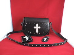 Photo of P16 - Purse - Black - Cross with cowhide